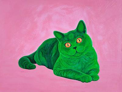 Animals Paintings - The green cat. by Vladimir Frolov