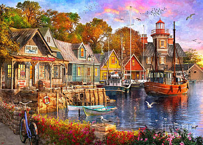 Digital Art - The Harbour Evening by MGL Meiklejohn Graphics Licensing