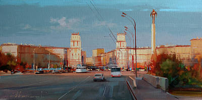 Painting - The heat of October. Gagarin Square by Alexey Shalaev