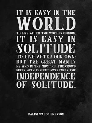 Featured Tapestry Designs - The Independence of Solitude 01 - Ralph Waldo Emerson - Typographic Quote Print by Studio Grafiikka