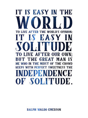 Featured Tapestry Designs - The Independence of Solitude 02 - Ralph Waldo Emerson - Typographic Quote Print by Studio Grafiikka