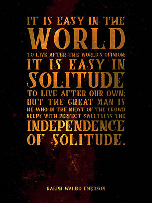 Featured Tapestry Designs - The Independence of Solitude 03 - Ralph Waldo Emerson - Typographic Quote Print by Studio Grafiikka