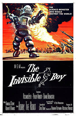 Mixed Media Royalty Free Images - The Invisible Boy movie poster 1957 Royalty-Free Image by Stars on Art