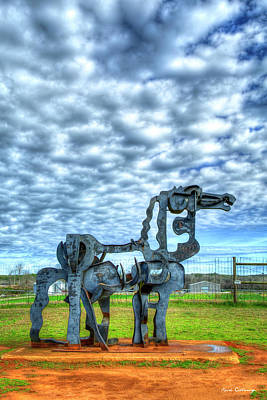 Royalty-Free and Rights-Managed Images - The Iron Horse Revealed 7 University Of Georgia Sculpture Landscape Agricultural Art by Reid Callaway