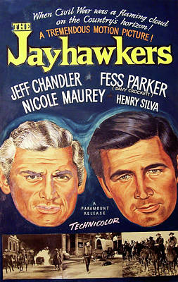 Mixed Media Royalty Free Images - The Jayhawkers, with Jeff Chandler and Fess Parker, 1959 Royalty-Free Image by Stars on Art