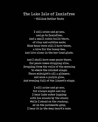 Roaring Red - The Lake Isle of Innisfree - William Butler Yeats - Typewriter Print 2 - Literature - Black by Studio Grafiikka