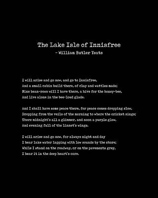 Roaring Red - The Lake Isle of Innisfree - William Butler Yeats - Typewriter Print - Literature - Black by Studio Grafiikka