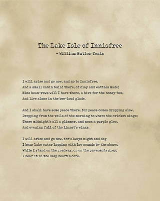 Royalty-Free and Rights-Managed Images - The Lake Isle of Innisfree - William Butler Yeats - Typewriter Print on Antique Paper 1 - Literature by Studio Grafiikka