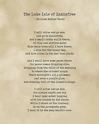 Royalty-Free and Rights-Managed Images - The Lake Isle of Innisfree - William Butler Yeats - Typewriter Print on Antique Paper 2 - Literature by Studio Grafiikka