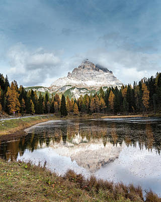 Black And White Flower Photography - The lake of Lago di antorno with Tre cime di lavadero mountain reflection in autumn. Forest landscape Italy by Michalakis Ppalis