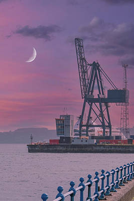 Wine Corks Royalty Free Images - The Large Cranes Ocean Terminal Greenock Early in the Morning Royalty-Free Image by Jim McDowall
