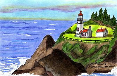 Drawings Royalty Free Images - The Lighthouse at Heceta Head Royalty-Free Image by Paul Meinerth