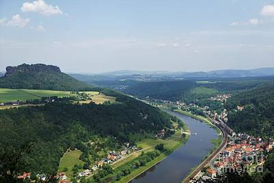 Steampunk - The Lilienstein with Elbe river and Koenigstein village by Pis Ces