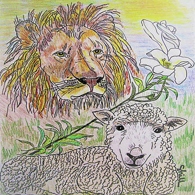 Animals Drawings - The Lion The Lamb And The Peace Lily by Sharon Hill