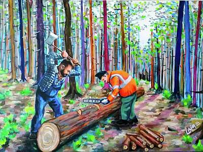 Painting - The loggers by Nimrod Stark