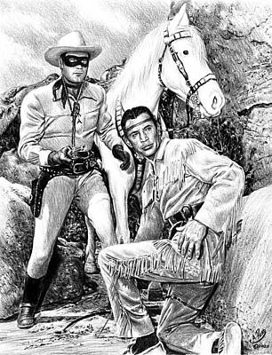 Animals Drawings - The Lone Ranger b w by Andrew Read
