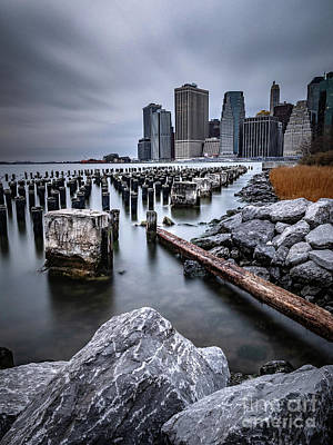 Photograph - The lower Manhattan city skyline as seen from Brooklyns old pier one by Andrew George Photography