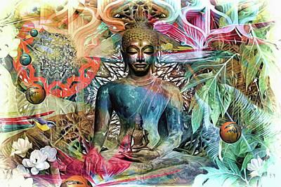 Lovely Lavender - The Mandala Forest Buddha  by Daniel Arrhakis