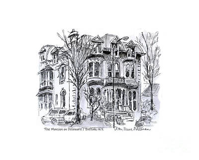 Drawing - The Mansion on Delaware, Famous Buffalo NY Hotel by Mary Kunz Goldman