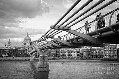 Abstract Stripe Patterns - The Millennium Foot Bridge in Black and White by Paul Quinn