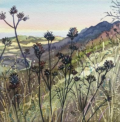Target Threshold Watercolor - The Mishe Mockwa Trail Early Evening by Luisa Millicent