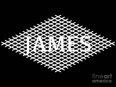 Latidude Image - The Name James in a White Diamond Shape Design by Douglas Brown