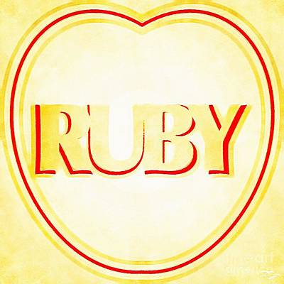 Basketball Patents - The Name Ruby in Yellow and White Love Heart Name Design by Douglas Brown