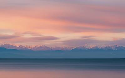 Royalty-Free and Rights-Managed Images - The Olympic Mountain range as seen from Deception Pass during sunrise in Washington  - body of water with golden time - Deception Pass, United States by Julien