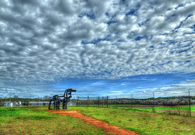Science Tees Rights Managed Images - The Overlook The Iron Horse Farm UGA Farming Agriculture Art Royalty-Free Image by Reid Callaway