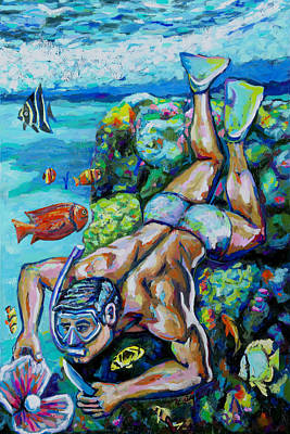 Painting - The Pearl diver by Nimrod Stark