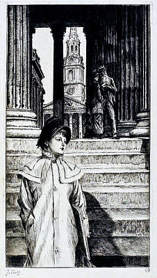 Old Masters Royalty Free Images - The Portico of the National Gallery London 1878 James Tissot Royalty-Free Image by Artistic Rifki