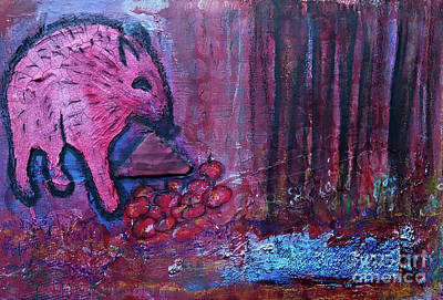 Mixed Media - The Red Wildboar by Mimulux patricia No