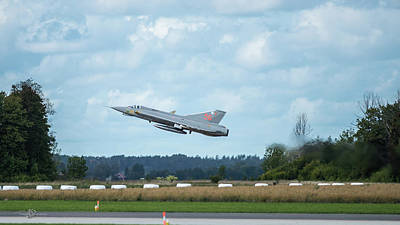 Photograph - The retired J35 Draken take off and still going strong by Torbjorn Swenelius