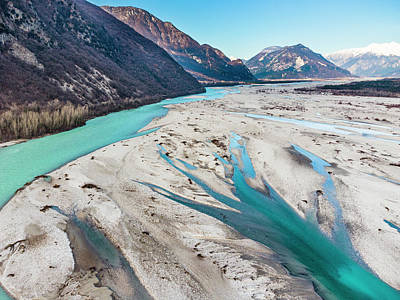 Surrealism Royalty Free Images - The River Tagliamento Royalty-Free Image by Nicola Simeoni
