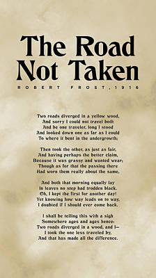 Royalty-Free and Rights-Managed Images - The Road Not Taken - Robert Frost - Typographic Print 03 - Literature by Studio Grafiikka