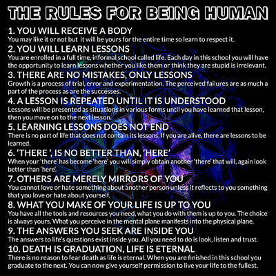 Digital Art - The Rules For Being Human by Az Jackson