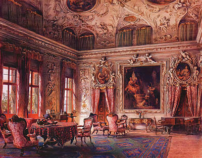 Abstract Oil Paintings Color Pattern And Texture - The Salone of the Palazzo Barbaro by Ludwig Johann Passini