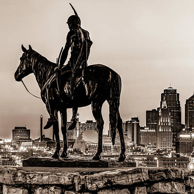 Animal Portraits - The Scout Statue In Sepia - Kansas City Penn Valley Park 1x1 by Gregory Ballos