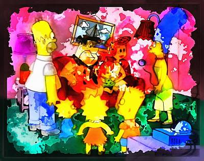 Mixed Media Royalty Free Images - The Simpsons Meet the Flintstones Royalty-Free Image by Mario Carini