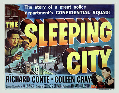 Mixed Media Royalty Free Images - The Sleeping City, with Richard Conte, 1950 Royalty-Free Image by Stars on Art