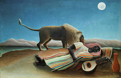 Mannequin Dresses Rights Managed Images - The Sleeping Gypsy Royalty-Free Image by Henri Julien Rousseau