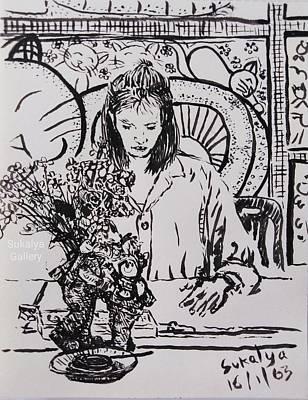 Drawing - The Student Named Pinkular by Sukalya Chearanantana