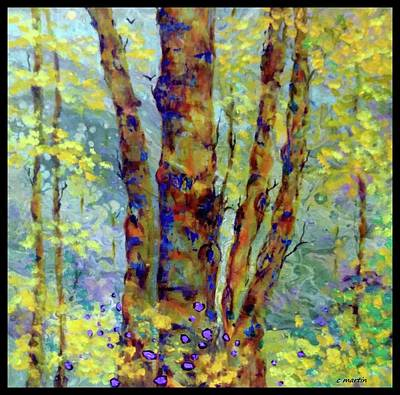 Abstract Oil Paintings Color Pattern And Texture - The Trees Watched As The Dream Floated Around Them by Charleen Martin