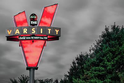Celebrity Pop Art Potraits - The Varsity - Atlanta Georgia Neon Icon in Selective Color by Gregory Ballos