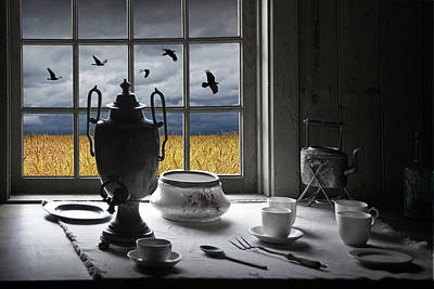 Classical Masterpiece Still Life Paintings - The View From My Window With Crows Over A Wheatfield by Randall Nyhof