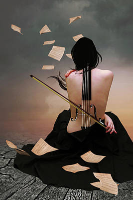 Surrealism Digital Art - The violin woman by Mihaela Pater
