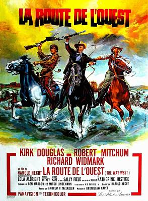 Mixed Media Royalty Free Images - The Way West, with Kirk Douglas and Robert Mitchum, 1967 Royalty-Free Image by Stars on Art