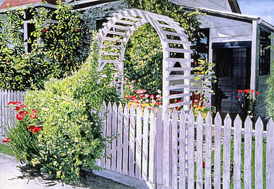 Royalty-Free and Rights-Managed Images - The White Garden Gate by David Lloyd Glover