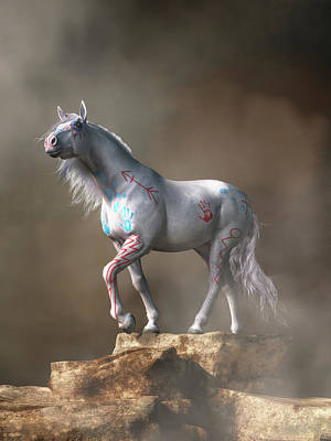 Animals Royalty-Free and Rights-Managed Images - The White War Horse by Daniel Eskridge