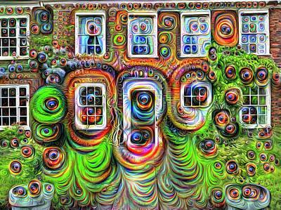 Surrealism Digital Art - The windows have eyes surreal Deep Dream Art by Matthias Hauser